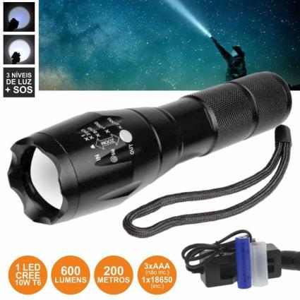 Lanterna Com 1 Led Xpe 10w 5 Níveis Luz Zoom 600lm Well