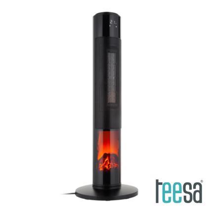 Termoventilador Torre 1000/2000W C/ Comando Preto TEESA