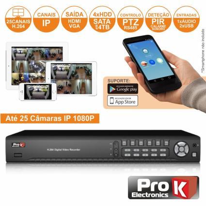 Vídeo-Gravador Digital Ip 25 Canais H264 Ethernet Prok