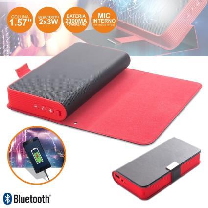 Coluna Bluetooth Portátil 2x3w C/ Powerbank 5200mah