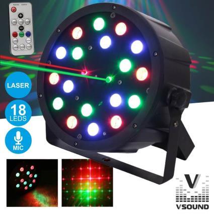 Projetor De Luz C/18 Leds 1w Rgb Com Laser Dmx Mic Vsound