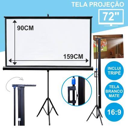 TELA PROJEÇÃO C/ SUPORTE TRIPÉ 72