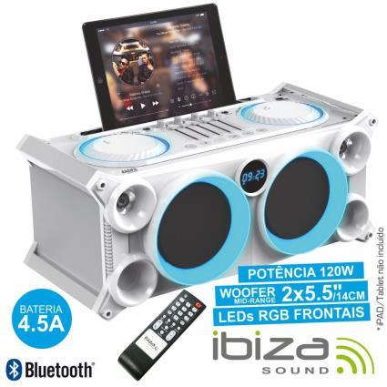 SISTEMA SOM PORTÁTIL BRANCO 120Wmáx USB/BT/FM LEDS IBIZA