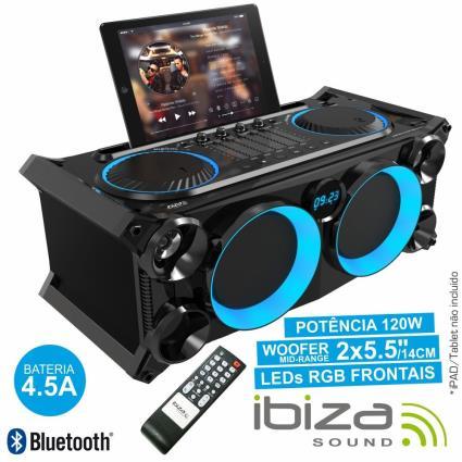 SISTEMA SOM PORTÁTIL PRETA120Wmáx USB/BT/FM LEDS IBIZA
