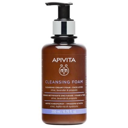 Olhos Apivita Creme de Limpeza Facial Espuma com Oliveira e Lavanda 200ml