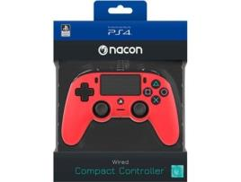 Ps4 - Comando com Fio Nancon para PS4 - Vermelho