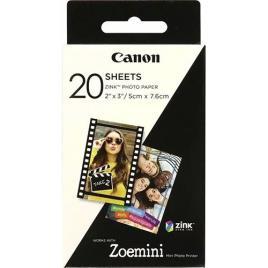 CANON - Canon Papel Fotográfico ZINK™, 5 x 7 cm (2 x 3), Verso Autocolante, Branco, 20 Folhas