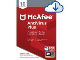 Mcafee - Software MCAFEE AntiVirus Plus (10 Dispositivos - 1 Ano - PC, Mac, Smartphone e Tablets - Formato Digital)