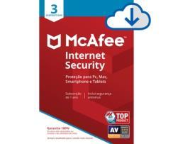 Mcafee - Software MCAFEE Internet Security (3 Dispositivos - 1 Ano - PC, Mac, Smartphone e Tablets - Formato Digital)