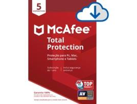Mcafee - Software MCAFEE Total Protection (5 Dispositivos - 1 ano - PC, Mac, Smartphone e Tablet - Formato Digital)