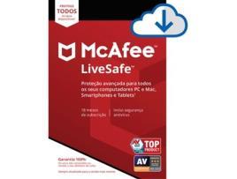 Mcafee - Software MCAFEE Livesafe ESD (Dispositivos Ilimitados - 18 meses - PC, MacBook, Smartphone e Tablet - Formato Digital)