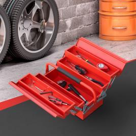 Marca do fabricante - DURHAND Caixa de ferramentas dobrável de aço com 5 compartimentos com alça 45x22,5x34,5 cm Vermelho
