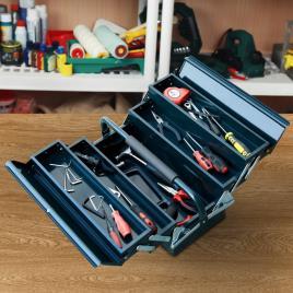 Marca do fabricante - DURHAND Caixa de Ferramentas portátil Dobrável de Aço com 5 compartimentos com Alça de Transporte para oficina 57x21x41cm Verde