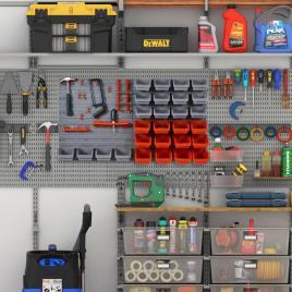 Marca do fabricante - DURHAND Organizador de ferramentas com caixas e ganchos 63,5x22,5x95,5cm cinza e vermelho