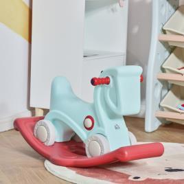 Marca do fabricante - HOMCOM Cavalo Baloiço para Bebés 2 em 1 Carro Andador com Rodas e Efeitos Sonoros e Guiador Brinquedo Infantil para Crianças acima de 1 ano 73x36x43cm Azul e Vermelho