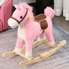 Marca do fabricante - HOMCOM Cavalo de balanço para crianças acima de 36 meses Com boca e cauda móveis Música 65x32,5x61 cm Rosa