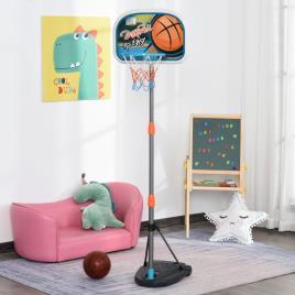 Marca do fabricante - HOMCOM Cesto de basquete para crianças acima de 6 anos com suporte de altura ajustável e base recarregável incluídos 32x65x126-158 cm