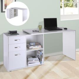 Marca do fabricante - HomCom Escritório Mesa Esquina Oficina 2 Formas com 2 Estantes 3 Gavetas Madeira cor Branca