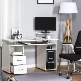 Marca do fabricante - HOMCOM Secretária para computador Mesa para PC com prateleiras múltiplas Bandeja de teclado Suporte para CPU e 2 gavetas 120x55x85 cm branco