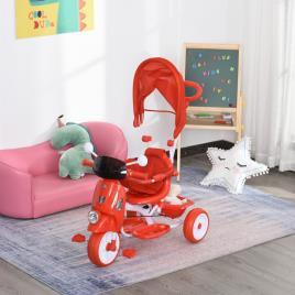 Marca do fabricante - HOMCOM Triciclo infantil com toldo Barreira Apoio para os pés Luz e Música 93x51x94 cm Vermelho