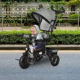 Marca do fabricante - HOMCOM Triciclo para Crianças 2 em 1com capota ajustável acima de 18 Meses cinza 92x51x110cm