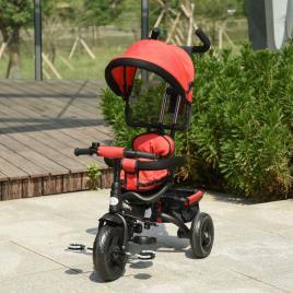 Marca do fabricante - HOMCOM Triciclo para Crianças 2 em 1com capota ajustável acima de 18 Meses vermelho 92x51x110cm