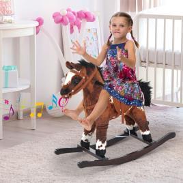 Marca do fabricante - HomCom® Cavalito de Baloiço de Peluche com Cadeiras e Som Jogo para Crianças +18 Meses 71x28x60cm