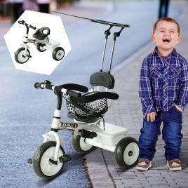 Marca do fabricante - Triciclo infantil com Capota – Cor: Branco – Ferro, Plástico e Tecido – 103 x 47 x 101 cm
