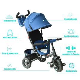 Marca do fabricante - HomCom 3 em 1 triciclo para crianças +18 meses azul 96x53.5x101cm