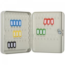 HOMCOM Armário de chaves com etiquetas de alta segurança de 93 ganchos 30x24x7.5 cm Bege