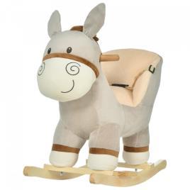 Marca do fabricante - HOMCOM Cavalo de balanço de burro para bebê acima de 18 meses com cinto 61x34x58 cinza