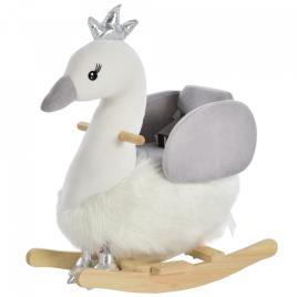 Marca do fabricante - HOMCOM Cavalo de balanço para bebê acima de 18 meses em forma de cisne com som 60x33x59 branco e cinza