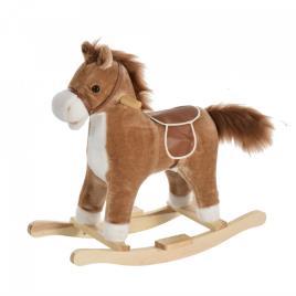Marca do fabricante - HOMCOM Cavalo de balanço para crianças acima de 36 meses Com boca e cauda móveis Música 65x32,5x61 cm Marrom