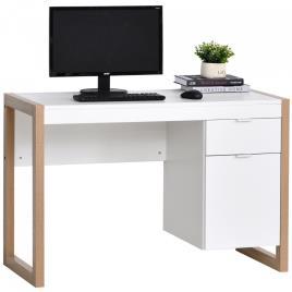 Marca do fabricante - HOMCOM Mesa de escritorio com gaveta Armário Pés retangulares 112,5x50x75,5 cm Branco