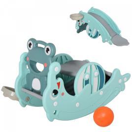 Marca do fabricante - HOMCOM Rã de cavalo de balanço 3 em 1 para crianças acima de 3 anos escorrega aro de basquetebol verde