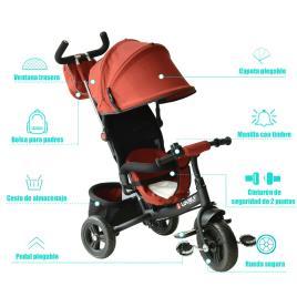 Marca do fabricante - HomCom Triciclo 3 EM 1 para Crianças +18 Meses Vermelho 96x53.5x101cm