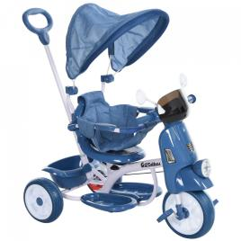 Marca do fabricante - HOMCOM Triciclo infantil com toldo Barreira Apoio para os pés Luz e Música 93x51x94 cm Azul