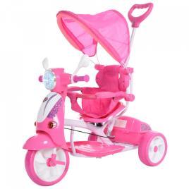 Marca do fabricante - HOMCOM Triciclo para crianças acima de 3 anos, dobrável com luz e música 102x48x96 cm Rosa