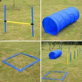 Marca do fabricante - Kit Treino Agility Agilidade Cães Salto Túnel e Slalom Azul Amarelo