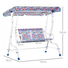 Marca do fabricante - Outsunny Balanço de jardim infantil acima de 3 anos de 2 lugares com toldo ajustável em ângulo e cintos de segurança ao ar livre 110x70x110 cm Azul