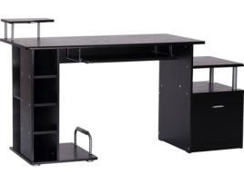 Marca do fabricante - HomCom Mesa para Computador Secretária para Escritório– Cor: Preto- Madeira MDF - 152 x 60 x 88 cm