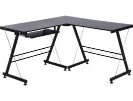 Marca do fabricante - HOMCOM Mesa de computador PC Mesa de escritório 2 tipos Formulário de mesa de canto L Aço de quadro de mesa reta