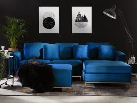 Marca do fabricante - Sofá de canto à esquerda e repousa-pes em veludo azul escuro OSLO