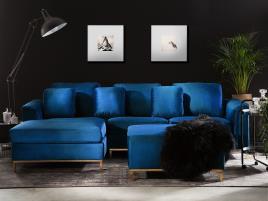 Marca do fabricante - Sofá de canto à direita e repousa-pés em veludo azul escuro OSLO