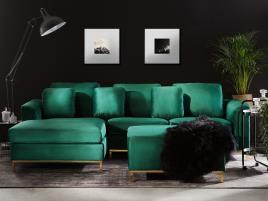 Marca do fabricante - Sofá de canto à direita e repousa-pes em veludo verde esmeralda OSLO
