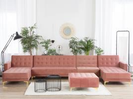 Marca do fabricante - Sofá XXL 6 lugares com repousa-pés em veludo rosa ABERDEEN