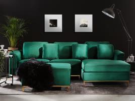 Marca do fabricante - Sofá de canto à esquerda e repousa-pés em veludo verde esmeralda OSLO