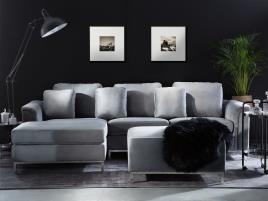 Marca do fabricante - Sofá de canto à direita e repousa-pés em veludo cinzento claro OSLO