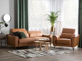 Marca do fabricante - Conjunto de sofás reclináveis de 4 lugares em pele castanha dourado NARWIK