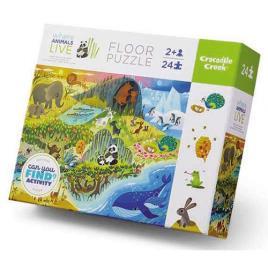 Puzzle Early Learning - Animals Live - 24 Peças - Crocodile Creek